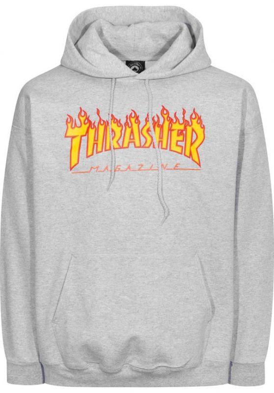 THRASHER Flame Hooded Sweatshirt Greymottled