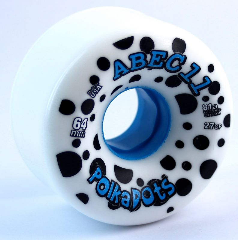 ABEC11 Polka Dots 78a 64mm White Blue