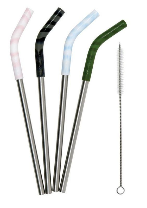 MIZU Straw 4 Pack - Trinkhalm-Set aus Edelstahl/Silikon
