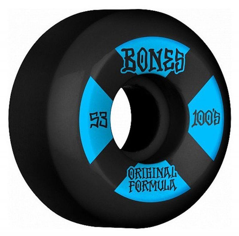 BONES WHEELS 100's OG V5 100A 53mm Side Cut Black-Blue - Skateboard Rollen