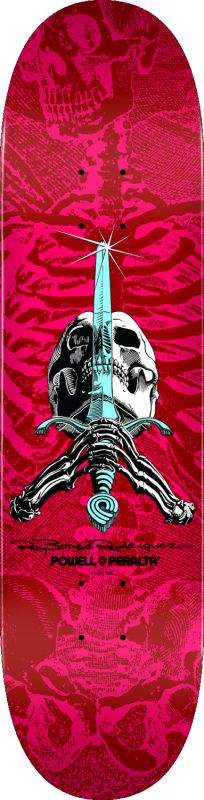 "POWELL PERALTA Ray Rodriguez Skull & Sword Popsicle Pink/Red 8,5"" - Skateboard Deck"