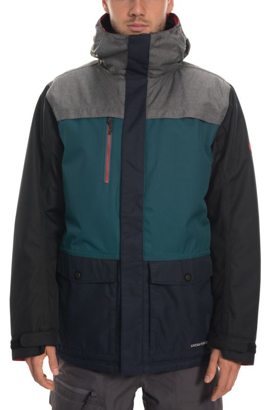 686 Men's Anthem Insulated Jacket Grey Melange Colorblock - L - Snowboard Jacke