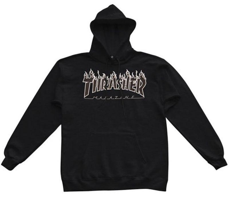 THRASHER Flame Hooded Sweatshirt Black/Black