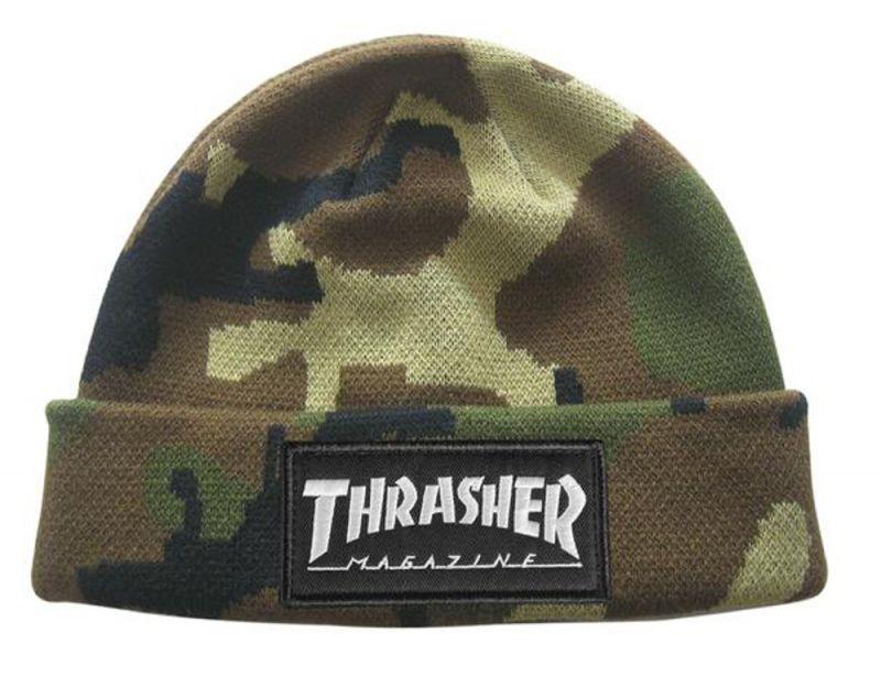 THRASHER Logo Patch Beanie Camo