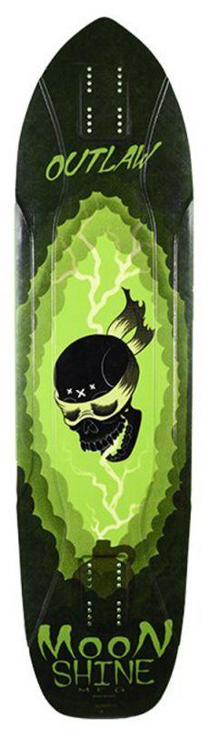 MOONSHINE Outlaw Black/Green - Longboard Deck