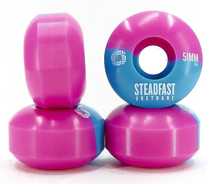 STEADFAST Wheels 50-50 Blue Pink 51mm 100a - Skateboard Rollen