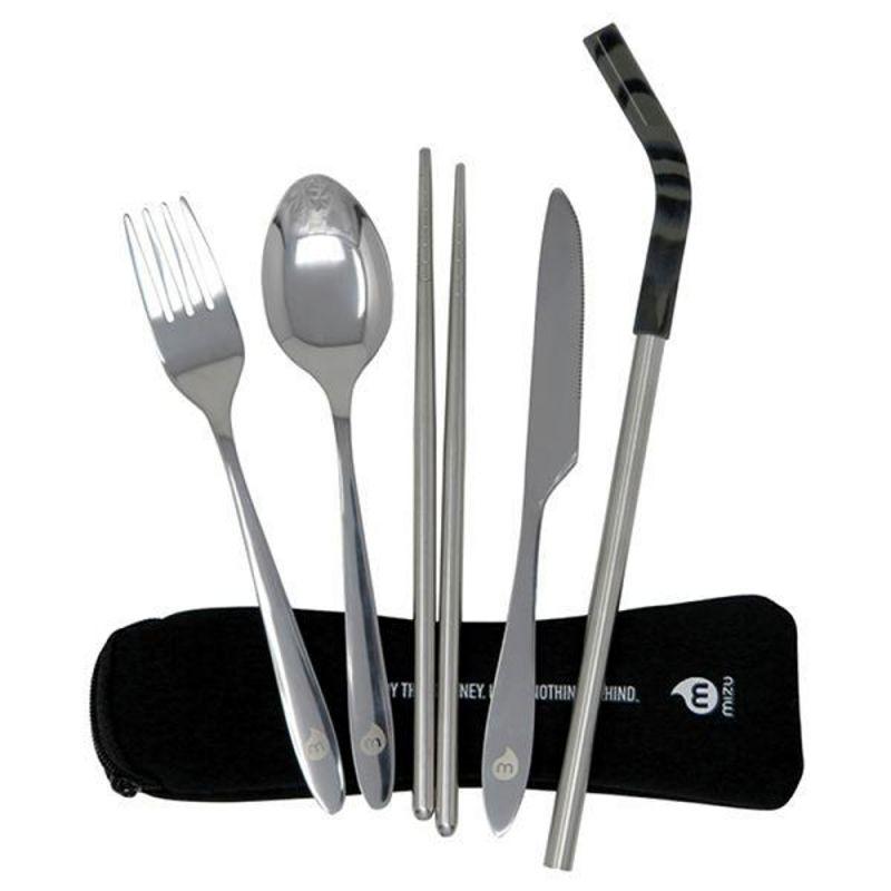 MIZU Cutlery Set With Straw - Edelstahlbesteck