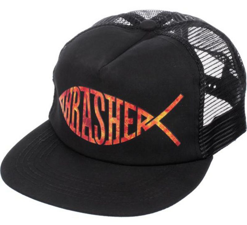 THRASHER Fish Mesh Cap Black