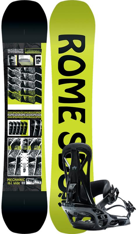 ROME Mechanic 161W inkl. United Black L/XL - Set mit Snowboard und Bindung 2020