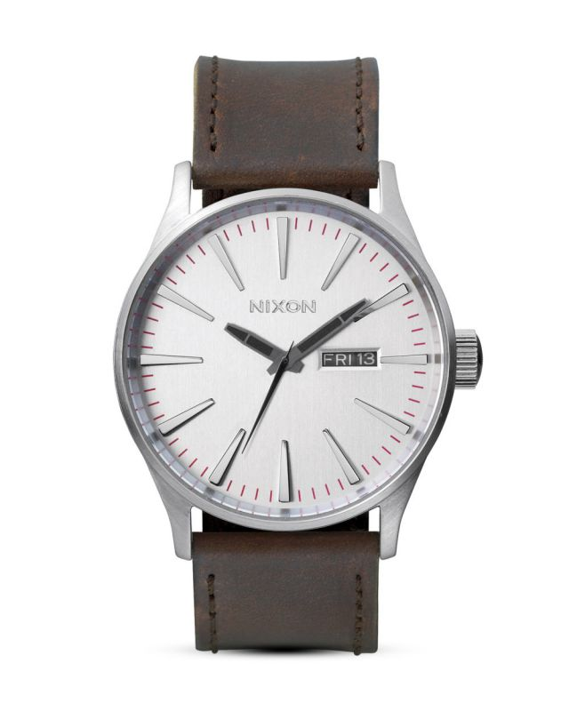 NIXON Sentry Leather Silver/Brown - Armbanduhr