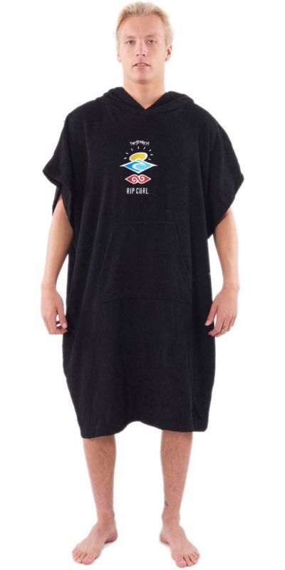 RIP CURL Icons Hooded Towel Washed Black - Surf Poncho