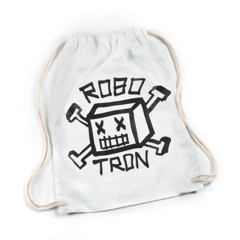 ROBOTRON Gym Sack Turnbeutel Roboskull White