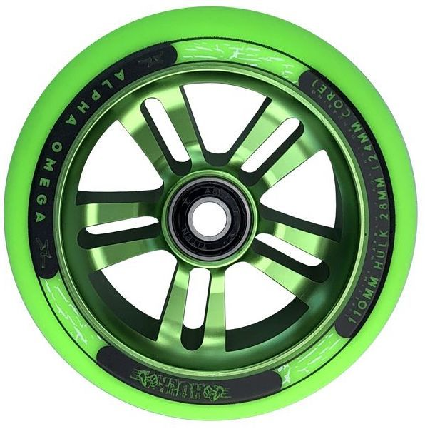 AO Hulk Wheel 110mm Green Inkl. Abec 9 Bearing - Scooter Rolle