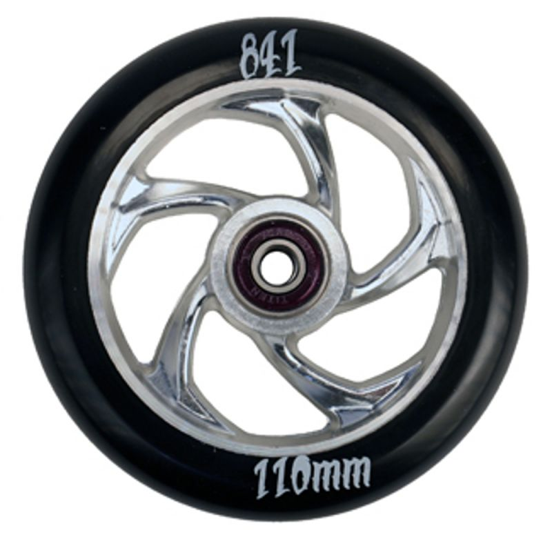 841 Wheel Forged 5-Star III Silver 110mm incl. Titen Abec 9 Bearings - Stuntscooter Rolle