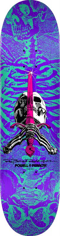 "POWELL PERALTA Ray Rodriguez Skull & Sword 8.25"" Turquoise/Purple - Skateboard Deck"