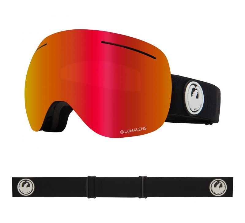DRAGON X1 - Black with Lumalens Red Ionized + Lumalens Rose Lens - Snowboardbrille