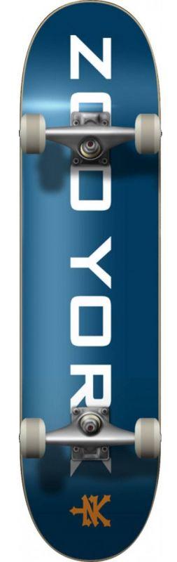 """ZOO YORK Logo Block 7.5"""" Blue/White  - Skateboard Komplett"""