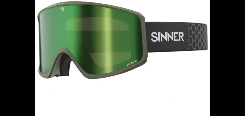 SINNER Sin Valley Matte Moss Green Mirrored inkl. Bonus Lens - Snowboardbrille