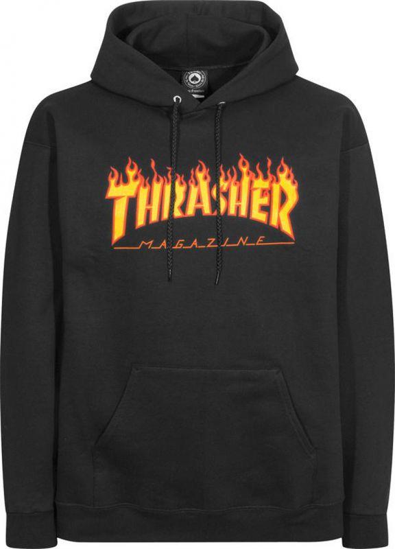THRASHER Flame Hooded Sweatshirt Black