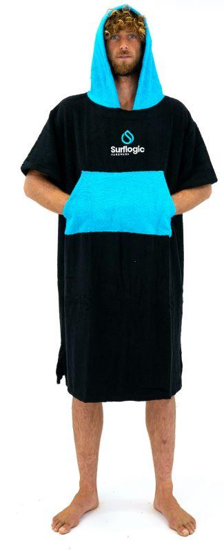 SURF LOGIC Towel Poncho Black/Cyan - Surf Poncho