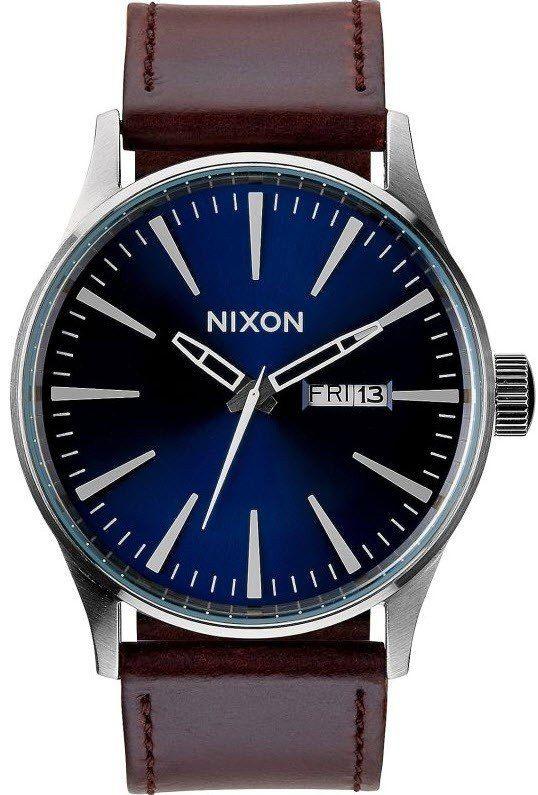 NIXON Sentry Leather Blue/Brown - Armbanduhr
