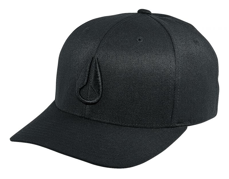 NIXON Deep Down Flex Fit Athletic Fit Cap - All Black - L/XL